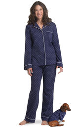 Models wearing Navy Blue and White Pajamas for Pets and Owners image number 0