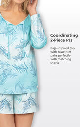 Blue Ombre Short Set Baja-inspired long-sleeve top with tassel ties pairs perfectly with matching shorts image number 3