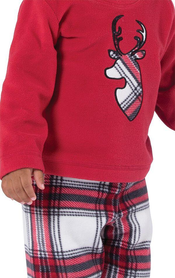 Close-up of Red Fleece Top with Deer Applique on Fireside Fleece Infant Pajamas image number 3