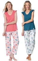 Models wearing Margaritaville Easy Island Capris Pajamas - Pink and Margaritaville Easy Island Capris Pajamas - Blue/White. image number 0