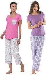 Models wearing Flamingo Stripe Short-Sleeve Capri Pajamas and Perfectly Plaid Pajamas. image number 0