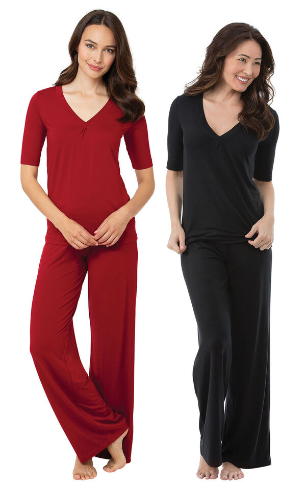 Red and Black Naturally Nude PJs Gift Set image number 0