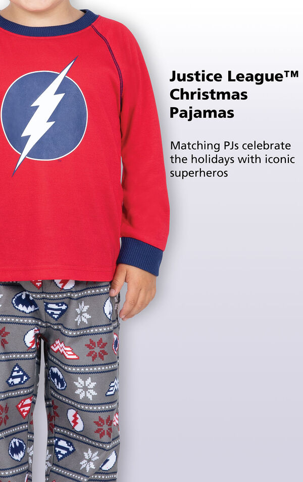 Close-up of Red and Blue Justice League Toddler PJ The Flash Graphic with the following copy: Matching PJs celebrate the holidays with iconic superheroes image number 2