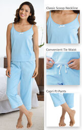 Close-ups of the features of Oh-So-Soft Pin Dot Capri Pajamas - Blue which include a classic scoop neckline, convenient tie waist and capri PJ Pants image number 2