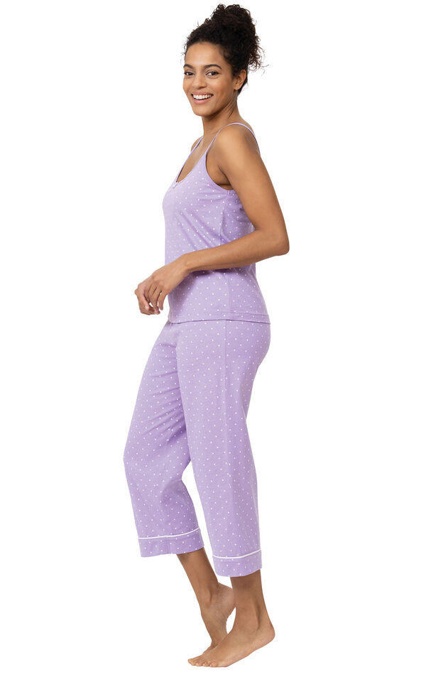 Model wearing Lavender with White Polka Dots Capri PJs for Women facing to the side image number 2