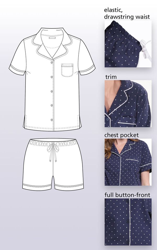 Navy Blue and White Polka Dot Short Set for Women feature a Elastic, drawstring waist, Trim, Chest Pocket, Full button-front image number 4