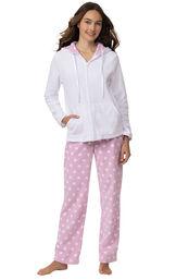 Model wearing Pink and White Polka Dot Fleece PJ for Women image number 1