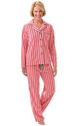 Model wearing Candy Cane Stripe Fleece PJ for Women