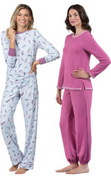Models wearing Feather Touch Pajamas and World's Softest Jogger Pajamas - Raspberry. image number 0