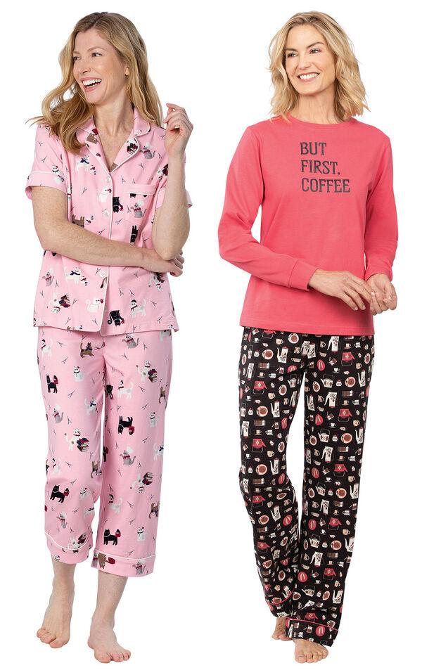 Models wearing Kitty in Paris Short-Sleeve Boyfriend Capri Pajamas - Pink and Coffee Lover Pajamas image number 0
