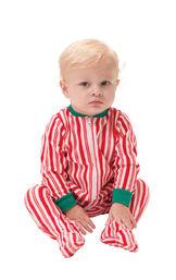 Model wearing Candy Cane Stripe Fleece Onesie for Infants