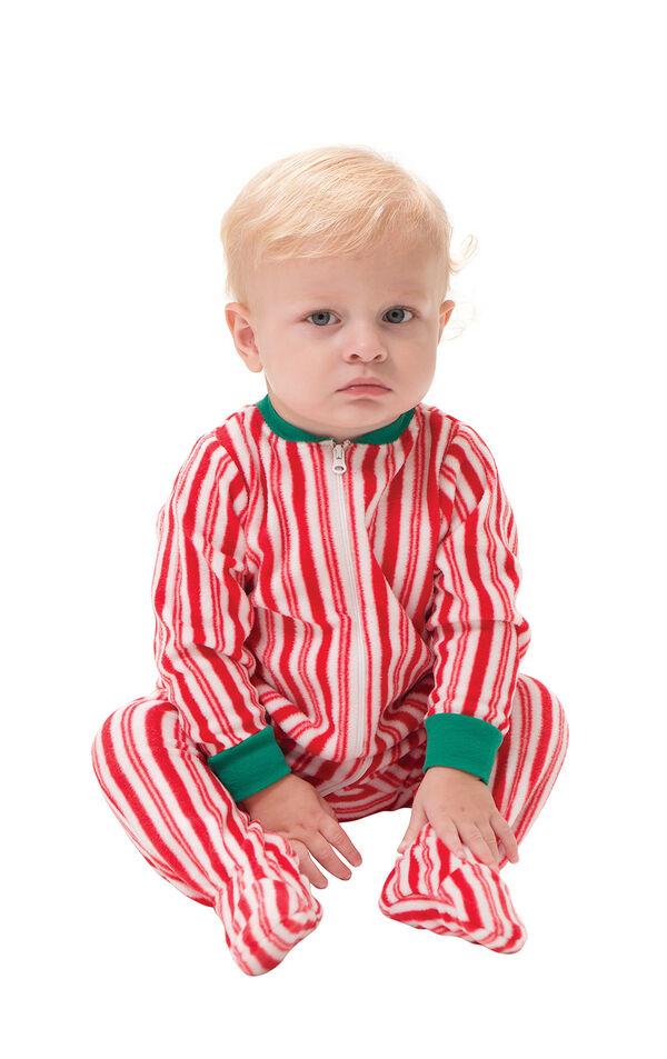 Model wearing Candy Cane Stripe Fleece Onesie for Infants image number 0