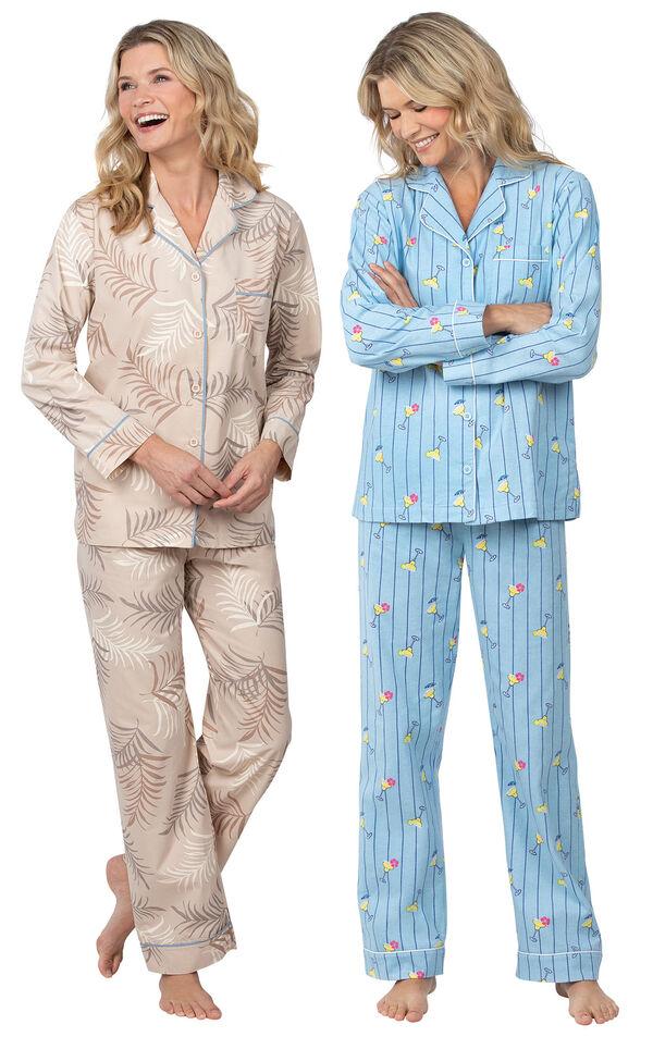 Models wearing Margaritaville Palm Frond Boyfriend Pajamas - Sand and Margaritaville Flannel Boyfriend Pajamas - Cocktail O'Clock. image number 0