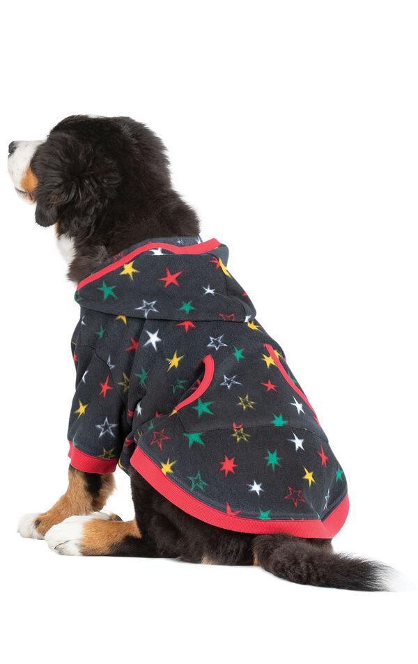 Model wearing Hoodie-Footie - Black Fleece with Stars - Pet image number 0