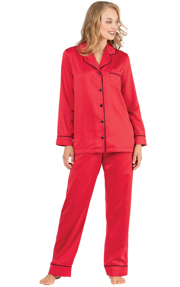 Model wearing Red Satin Button-Front PJ with Contrast Piping for Women image number 2