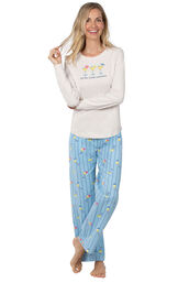 Model wearing Blue Stripe Margaritaville PJ with Graphic Tee for Women image number 1