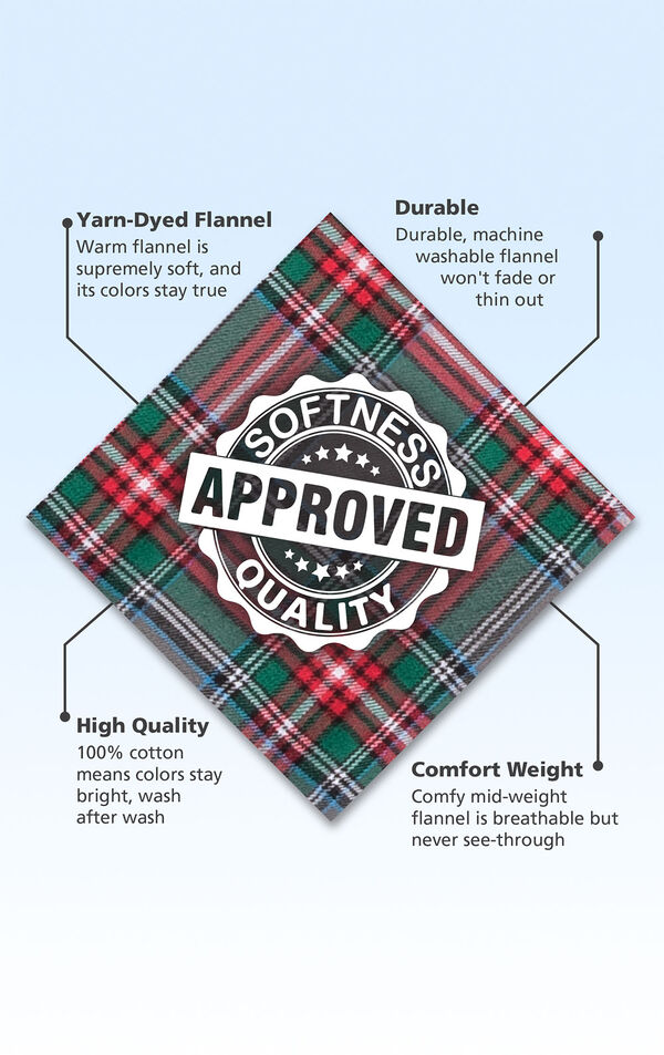 Red and Green Plaid Flannel Swatch with the following copy: Smooth plaid flannel is designed for premium softness. Machine-washable flannel won't fade or thin out. High Quality flannel is durable so colors stay bright. Warm but breathable flannel. image number 6