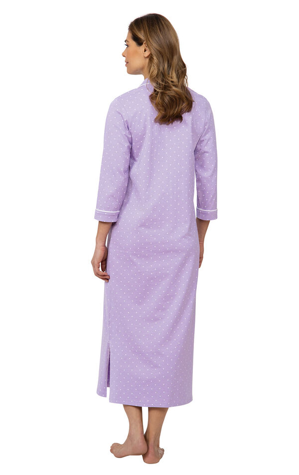 Model wearing Purple with White Polka Dot Gown for Women facing away from the camera image number 1