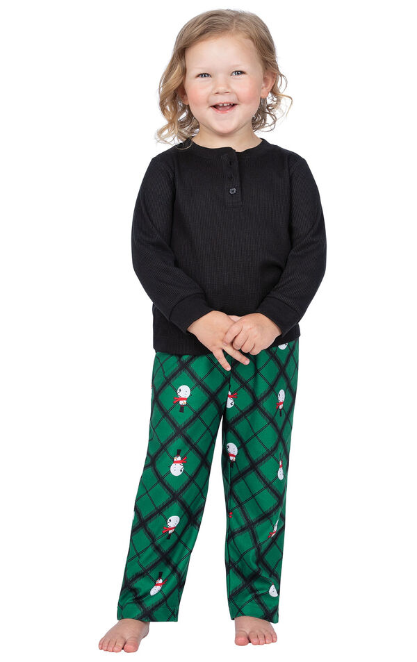 Model wearing Black and Green Snowman Argyle Henley PJ for Toddlers image number 0