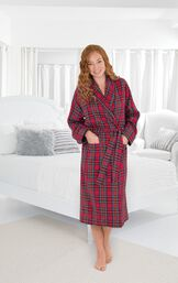Model wearing Red Classic Plaid Wrap Robe for Women by bed image number 3