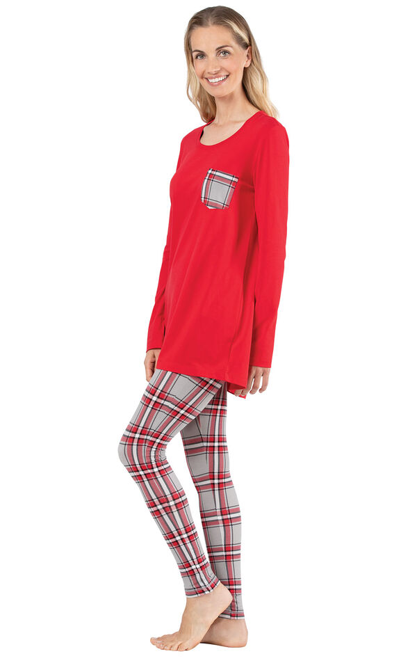Model wearing Long Sleeve and Legging Pajamas - Red Plaid, facing to the side image number 2