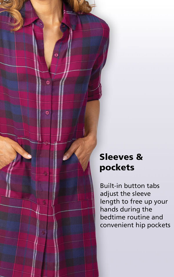 Built-in button tabs adjust the sleeve length to free up your hands during the bedtime routine image number 3