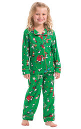Model wearing Green Charlie Brown Christmas PJ for Toddlers