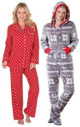 Models wearing Polka-Dot Boyfriend Flannel Pajamas - Red and Hoodie-Footie - Nordic Fleece.