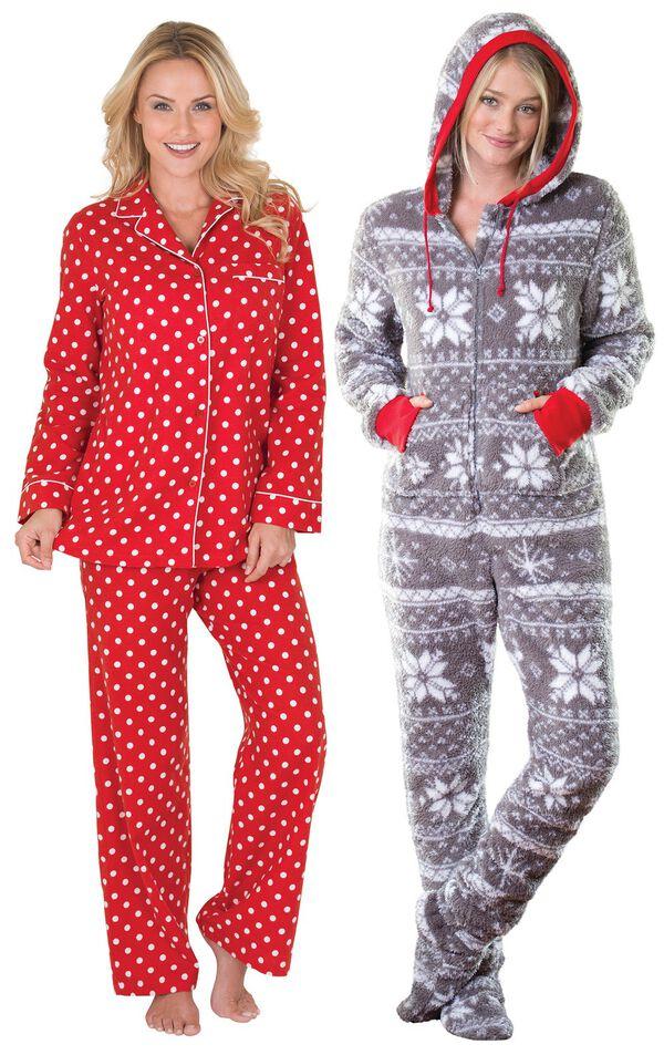 Models wearing Polka-Dot Boyfriend Flannel Pajamas - Red and Hoodie-Footie - Nordic Fleece. image number 0