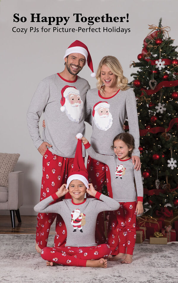 Parents and kids wearing Red and Gray St. Nick Matching Family Pajamas. Headline: So Happy Together! Cozy PJs for Picture-Perfect Holidays image number 1