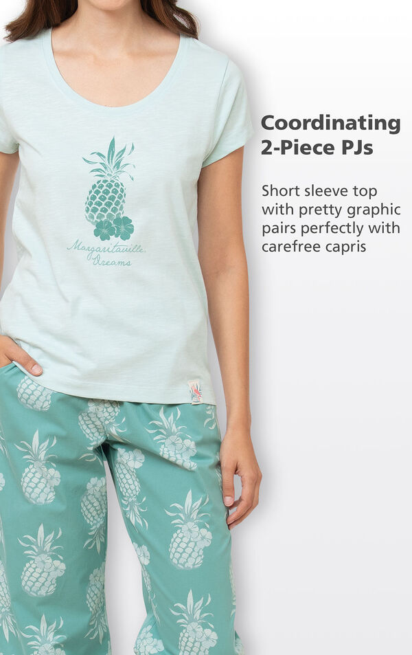 Coordinating 2-Piece PJs - Short sleeve top with pretty graphic pairs perfectly with carefree capris image number 3
