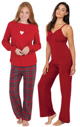 Valentine's Day Plaid PJs and Red Naturally Nude Cami PJs image number 0