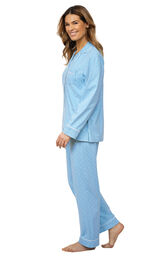 Model wearing Blue Pin Dot Button-Front PJ for Women, facing to the side image number 2