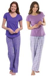 Models wearing Short-Sleeve V-Neck Pajamas- Purple Floral and Perfectly Plaid Pajamas image number 0