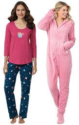 Models wearing Let's Celebrate Pajamas - Navy and Hoodie-Footie - Pink image number 0