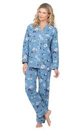 Model wearing Blue Margaritaville Button-Front PJ for Women image number 0