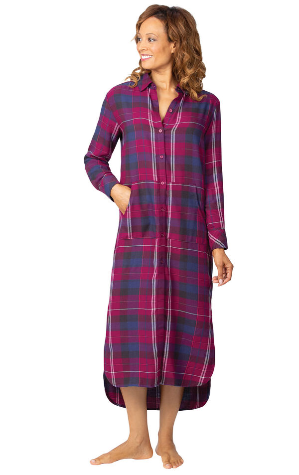 Model wearing World's Softest Flannel Sleepshirt - Black Cherry with her hand in the front pocket image number 2