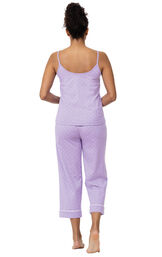Model wearing Lavender with White Polka Dots Capri PJs for Women, facing away from the camera image number 1