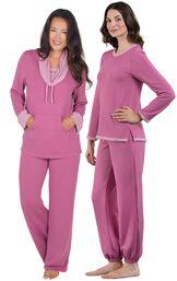 Models wearing World's Softest Jogger Pajamas - Raspberry and World's Softest Pajamas - Raspberry.