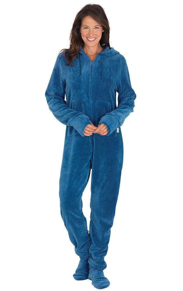 Model wearing Hoodie-Footie - Blue Fleece for Women image number 0