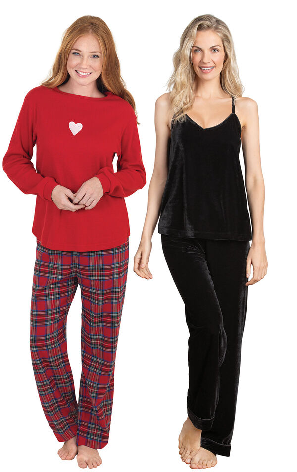 Models wearing Velour Cami Pajamas - Black and Valentine's Day Plaid Pajamas. image number 0