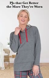 Model wearing Gray Plaid Hooded Women's Pajamas with the following copy: PJs that Get Better the More They're Worn image number 2