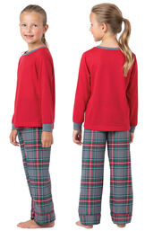 Model wearing Gray Plaid PJ for Girls, facing away from the camera and then facing to the side image number 1