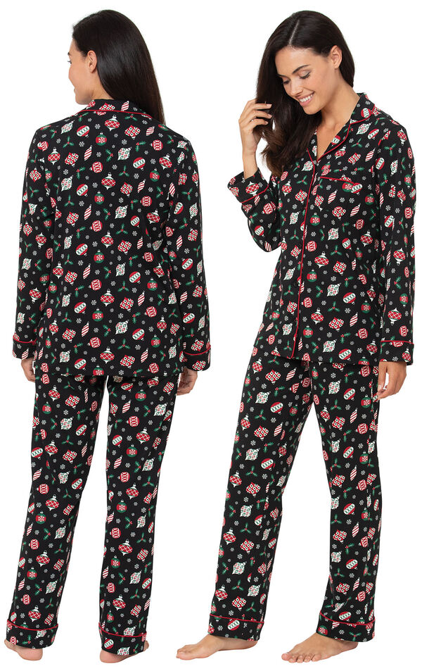Model wearing Ornament Boyfriend Pajamas, facing away from the camera and then facing to the side image number 1