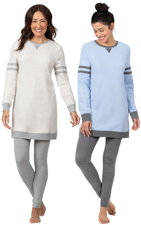 Models wearing Sporty Sweatshirt and Leggings PJ Set - Blue/Gray and Sporty Sweatshirt and Leggings PJ Set - Ivory/Gray. image number 0