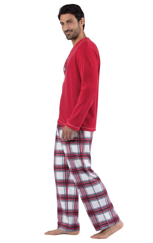 Model wearing Red and White Plaid Fleece PJ for Men, facing to the side image number 2