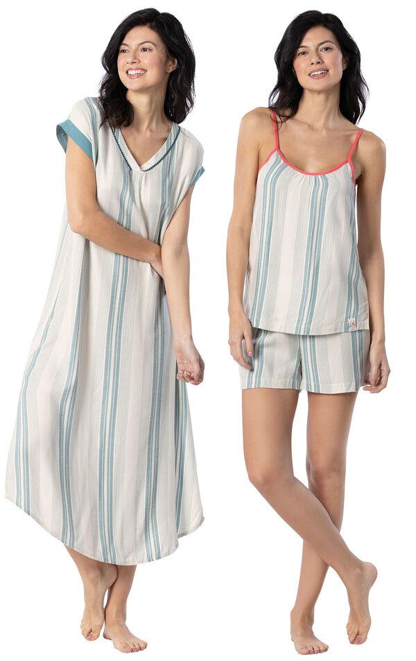 Models wearing Margaritaville Cabana Striped Nighty - Blue/White and Margaritaville Cabana Striped Short Set - Blue/White. image number 0