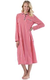 Model wearing Candy Cane Stripe Fleece Gown for Women image number 0