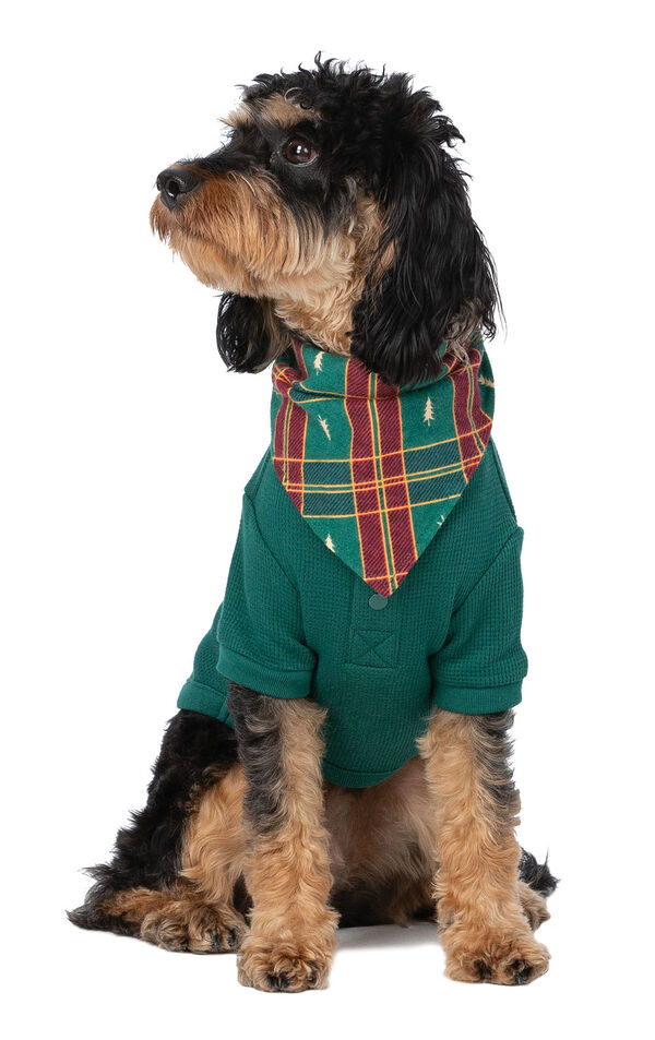 Model wearing Red and Green Christmas Tree Plaid PJ - Pet image number 0