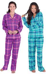 Models wearing Wintergreen Plaid Boyfriend Flannel Pajamas and Raspberry Plaid Boyfriend Flannel Pajamas.